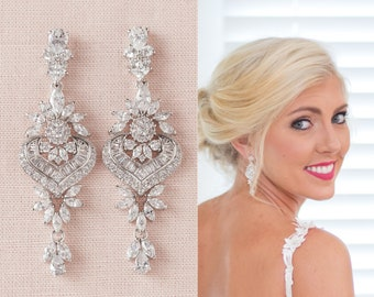 Bridal Earrings, Chandelier Crystal Wedding Earrings, Rose Gold Bridal Jewelry, Gold Wedding Earrings, London Extended Earrings