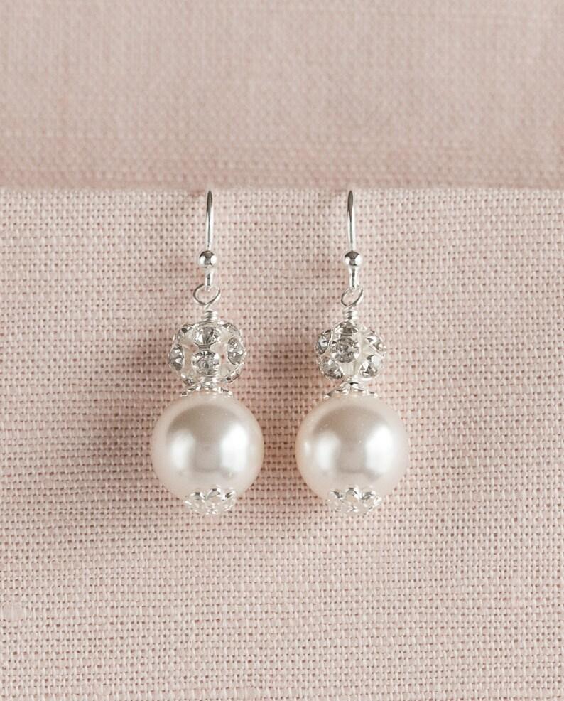 6405c8c629eb8 Pearl bridal Earrings, Bridesmaids jewelry, Pearl Bracelet, Bridal jewelry  SET, Swarovski pearls crystals, Bethany Earrings and Bracelet