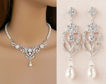 Bridal Jewelry SET, Wedding Jewelry, Pearl Bridal Necklace, Crystal Necklace,  Bridal Earrings, Kathryn Necklace