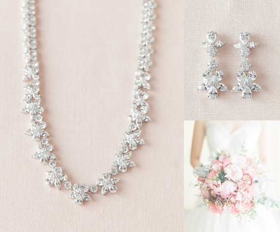 Crystal Bridal necklace, Back drop wedding Necklace, Rose Gold, Gold, Bridal Earrings, Bridal Jewelry SET, Savannah Bridal Jewelry