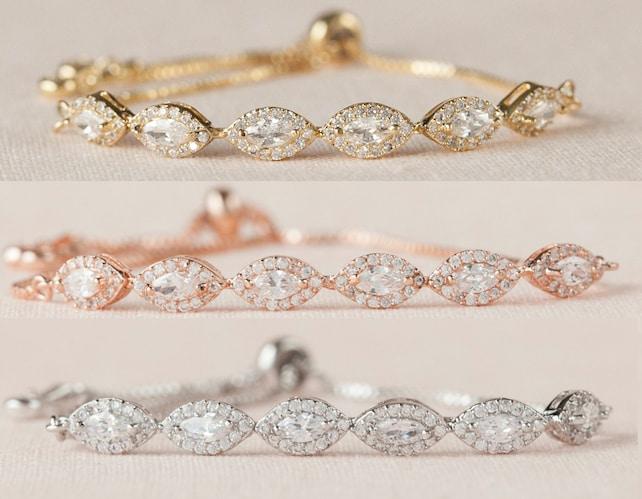 Flower girl Bracelet, Rose Gold Child's Jewelry, Gold, Dainty Marquise Wedding Bracelet, Wedding Jewelry, Ella Crystal Bracelet