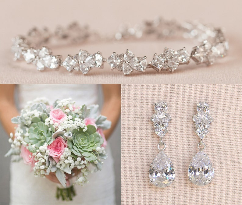 Bridal Jewelry SET Crystal Wedding Jewelry Rose gold image 0