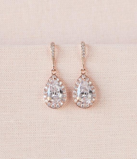 Crystal Bridal earrings Rose Gold Wedding jewelry Swarovski  1cbb0213b