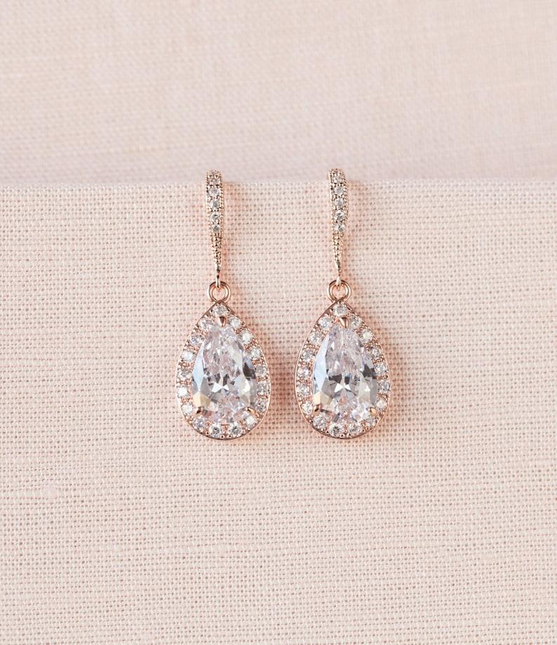 c423504066b5a Crystal Bridal earrings, Rose Gold Wedding jewelry Swarovski Crystal  Wedding earrings Bridal jewelry, Ariel Rose Gold Drop Earrings
