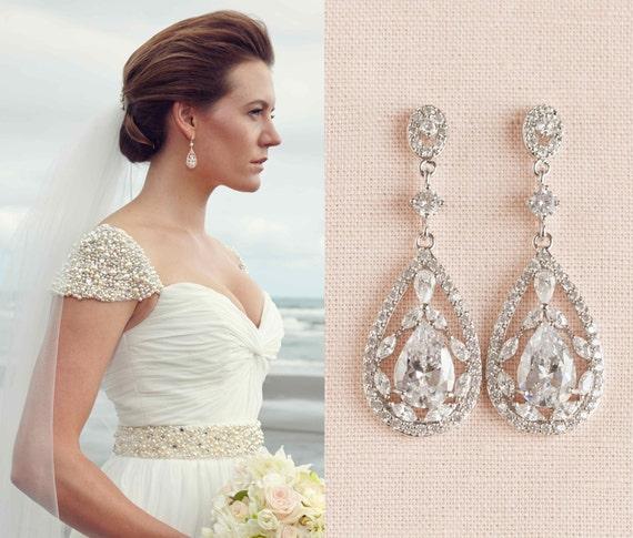 Braut Ohrringe Vintage Stil Perlen Swarovski Crystal Ohrringe Etsy