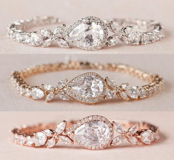 Rose Gold Bridal Bracelet Crystal Wedding bracelet Swarovski  11acdf510