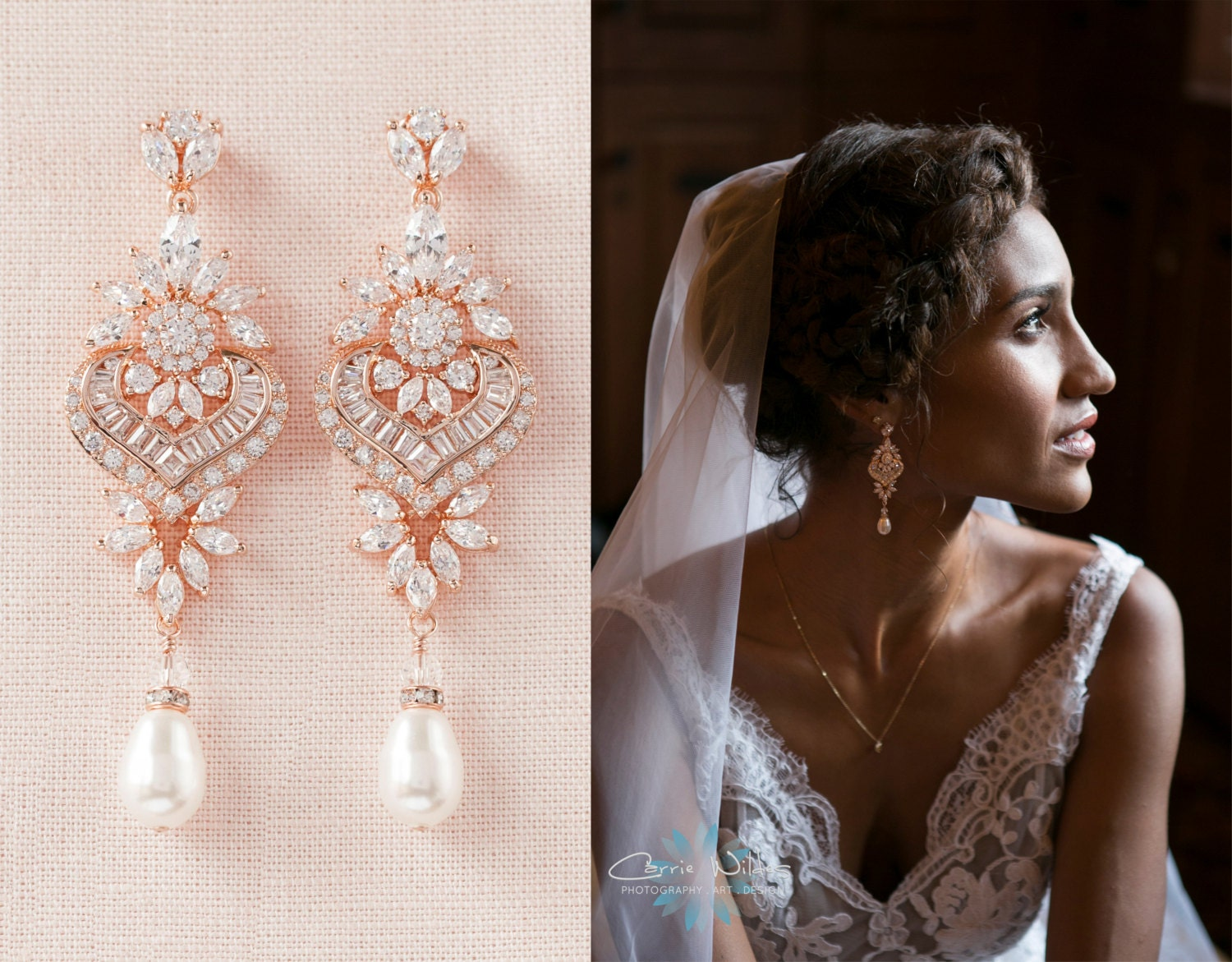 Rose Gold Bridal Earrings Crystal Wedding Earrings Bridal