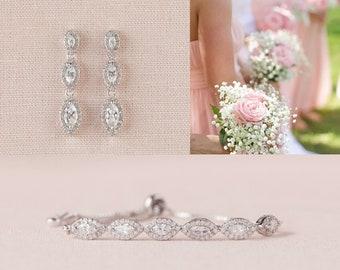 Crystal Bridal Bracelet, Rose Gold Bridesmaid Jewelry, Gold, Dainty Marquise Wedding Bracelet, Wedding Jewelry, Ella Crystal Bracelet