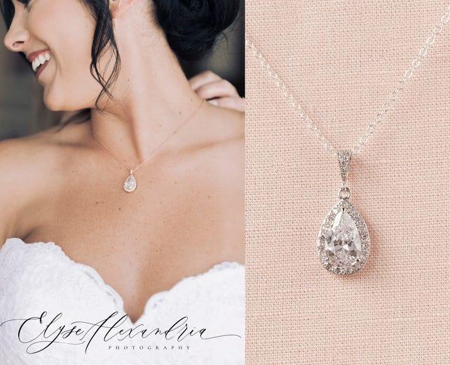 Crystal Bridal Necklace, Rose Gold Wedding Pendant,   Bridesmaid Jewelry, Ariel Bridal Necklace