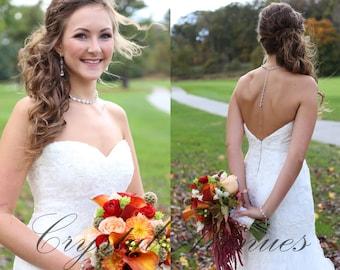 Backdrop Bridal Necklace, Crystal Back drop Necklace, Bridal Jewelry SET, Swarovski Wedding necklace,Bridal Jewelry, Melonie Bridal Necklace