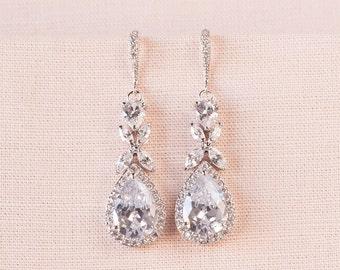 Crystal Bridal earrings  Rose Gold Wedding jewelry, STUD or Ear Wire Earrings,  Crystal Wedding earrings Bridal jewelry, Amielynn Earrings