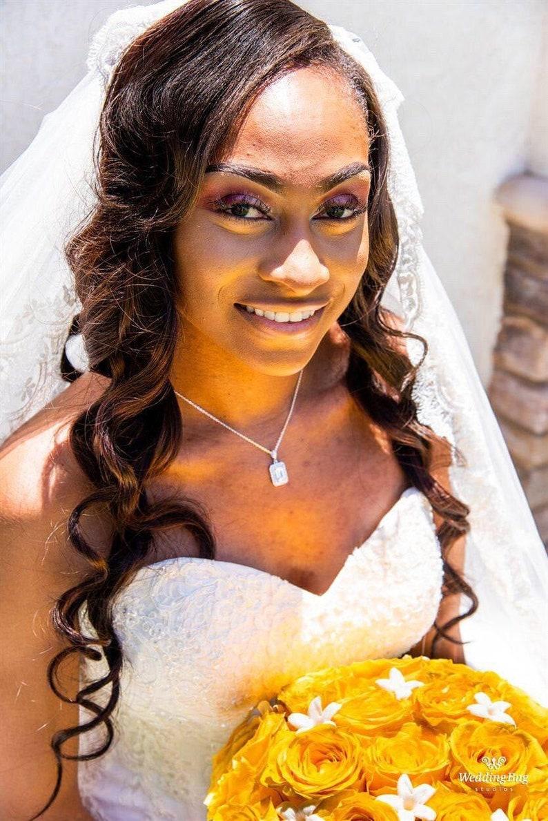 Rose Gold Wedding Jewelry Emerald Cut Halo Crystal Wedding necklace Bridal Jewelry Crystal Bridal Earrings Morgan SET