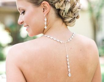 Back Drop Bridal Necklace, Crystal Backdrop Necklace, Gold, Swarovski, Y Drop Wedding necklace, Bridal Jewelry, Melonie Bridal Necklace