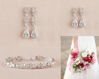 Bridal Jewelry SET, Crystal Wedding Jewelry, Short earrings OR Long earrings, Rose gold Bracelet, Gold Bridal Earrings,  Kendall Jewelry SET