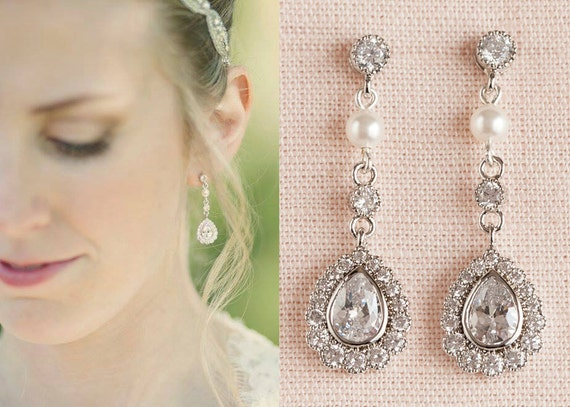 Vintage Style Pearl Crystal Bridal Earrings Rose Gold Gold
