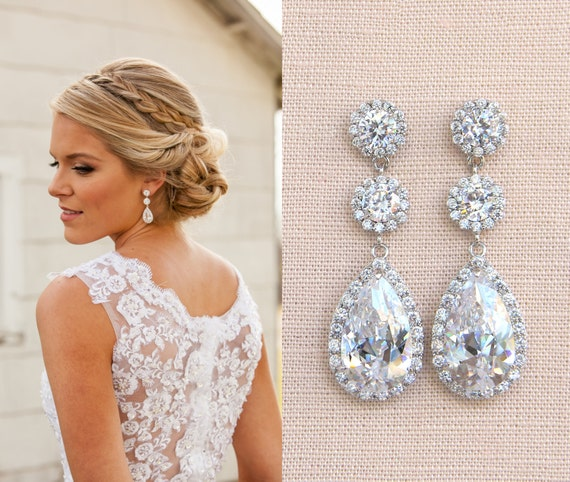 Crystal Bridal Earrings, Wedding earrings, Long Bridal earrings,  Bridesmaids, Wedding Jewelry, Long Crystal Stud Earrings
