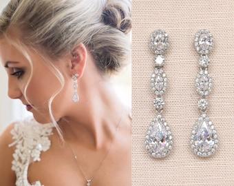 Bridal earrings Vintage Style Wedding Earrings, Swarovski, Wedding Jewelry, Bridal jewelry, Marisa Vintage Drop Earrings