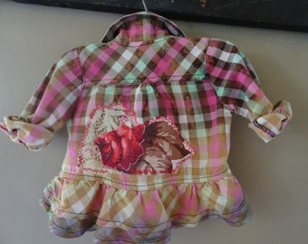 Baby 0/6 MO.  Bleached Soft Flannel Shirt Western Cowgirl Boho Hippie Festival Grunge Distressed Pink Blue Yellow Upcycled Appliqued Flower