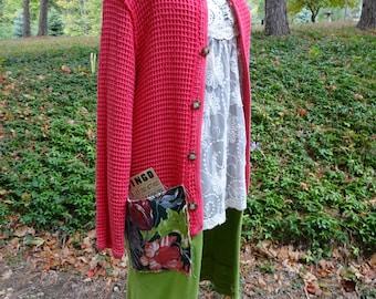 Upcycled SMALL MEDIUM Pink Green Altered Boho Indie Gypsy Jacket with Barkcloth Coat