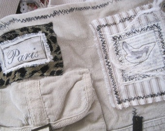 CUSTOM AVAILABLE Shabby Chic Paris Tan Ivory Corduroy Leopard Print Handbag Crossbody Purse Tote with Bird, Nest,  Lace and Crochet accents