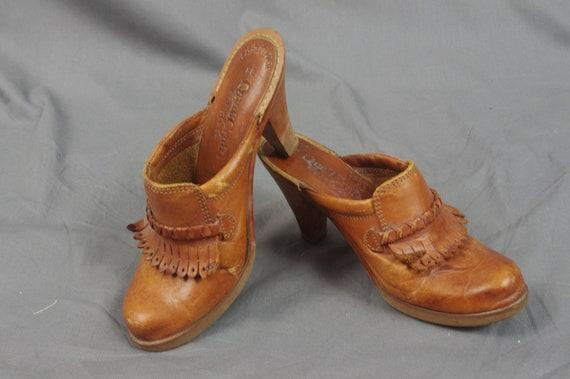 1970s Qualicraft Clogs, Brown Leather Fringe Kilt