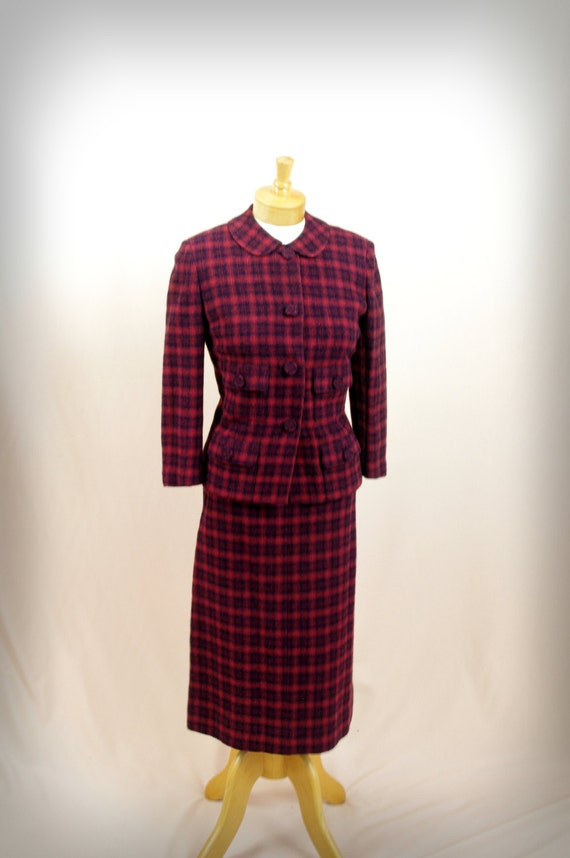 1960s Wiggle Skirt * Red Plaid Suit * 60s Suit * W