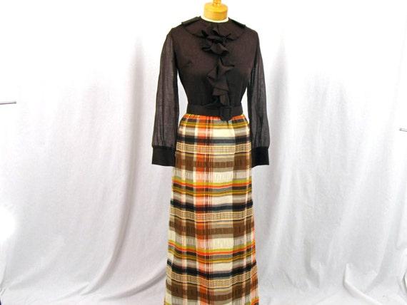 60s  Maxi Dress * Brown Plaid Maxi Dress * 1960s D