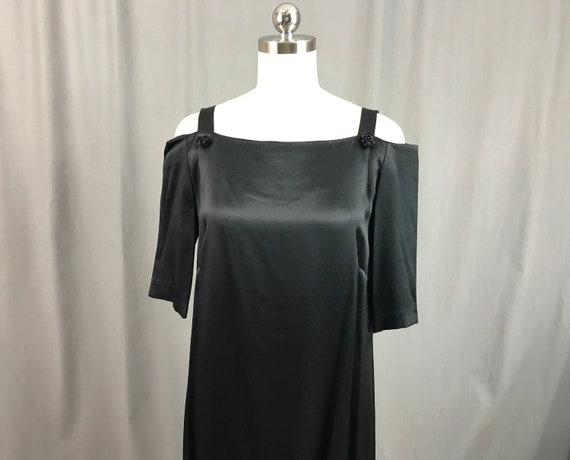 1980s Black Dress Open Shoulder Balloon Dress Cock