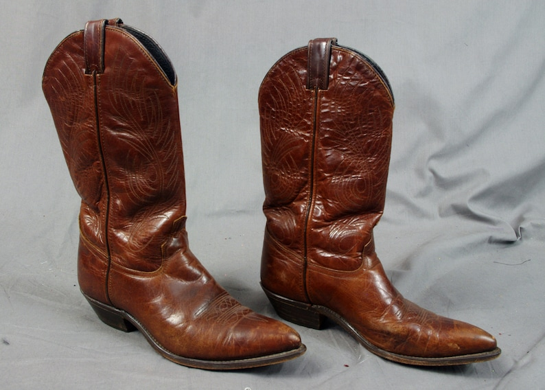 Mens Code West Country Western Boots, Brown Leather Cowboy Boots, size 8 M