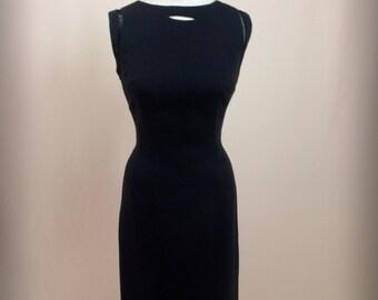 1950s Black Linen Dress * Black Dress * 50s Dress * 1950s Dress * Wiggle Dress * Sleeveless Dress * Morton Bregman