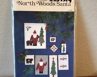 Vintage North Woods Santa Christmas Ornaments Wall Hanging Sewing Pattern Craft Kit