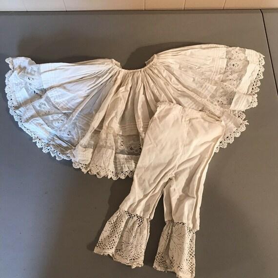 Antique Vintage Doll Lace Pantaloons Slip Skirt Pr