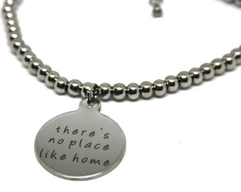 There is no Place like Home,Wizard of Oz bracelet, Quote Bracelet