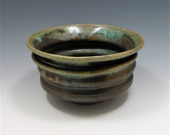 Small earthy hand pinched Stoneware Bowl with Crater Surface from Shino Glaze Wabi Sabi Nature in Brown Pottery