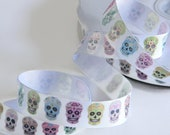 Sugar Skull Grosgrain White Ribbon 5 yards of 7 8 quot Dia de los Muertos Coco Inspired Hair Bow Halloween Party Favors Day of the Dead Colorful
