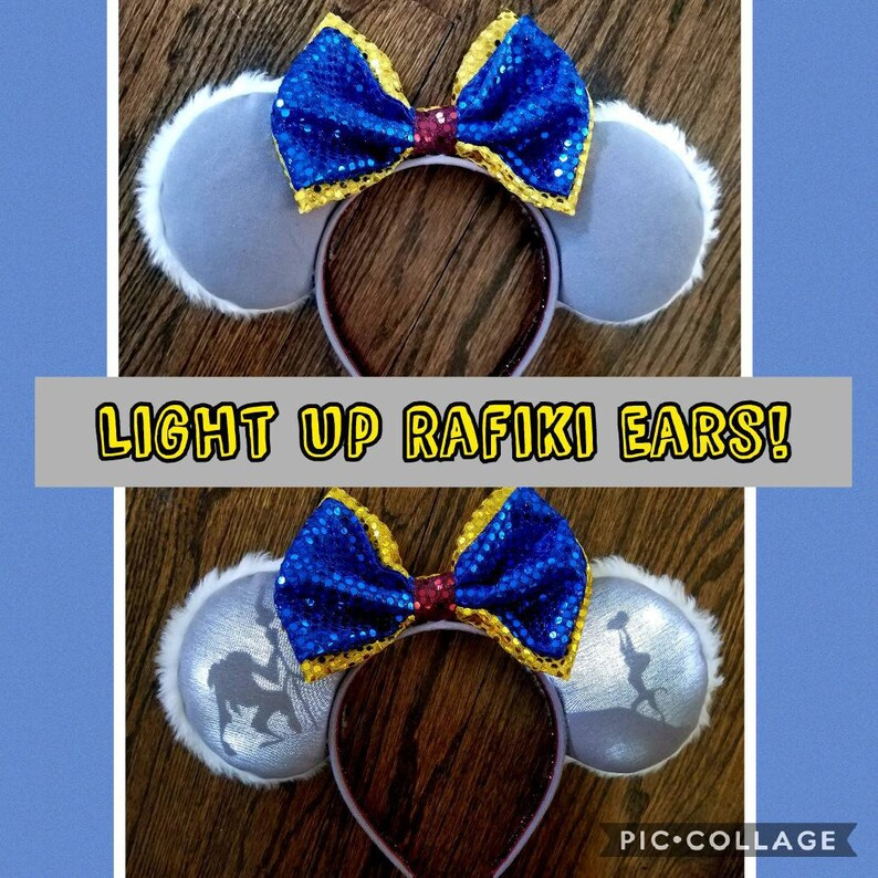 W NEW Disney Parks Christmas Holiday Mickey Mouse Ears Headband Light Up GLOW