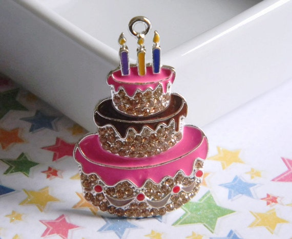 Birthday Cake Rhinestone Pendant For Bubble Necklace Key Chains Zipper Pulls Bubblegum Jewelry Holiday Ornaments Charms Pink Brown Candles