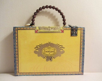 Yellow Cigar Purse with brown bead handle and custom fabric lining
