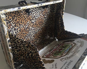 Cocktail Cigar Box Purse White, Black and Gold with custom fabric lining in Leopard