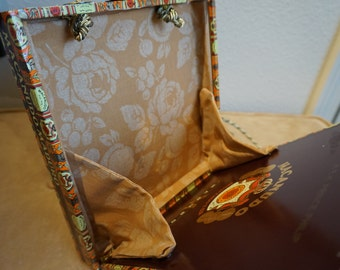 Brown THIN Cigar Box Purse with cord shoulder strap and custom fabric lining