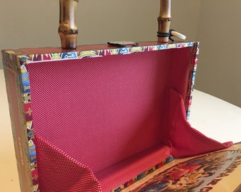 Cream Red Cigar Box Purse with Faux Bamboo handle and red fabric lining