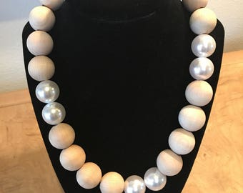 "Wood Beads and Faux White Pearls 19"" inch Necklace"