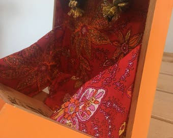 Orange Painted Cigar Box Purse with twisted gold cord and custom red madras fabric lining