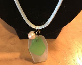 "Real Sea Glass ands Faux Pearl 22"" inch Necklace"