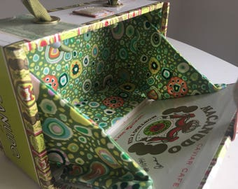 Cocktail Cigar Box Purse in Green, White and Gold with custom fabric lining in a Wild Print w Sewn Ribbon Handle