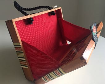 Fancy Wood Cigar Box Purse with incredible original labeling has Black cord handle and Red Tiny Dot fabric lining