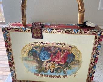 Cream with Beautiful Colors on a Cigar Box Purse with Faux Bamboo handle and red fabric lining