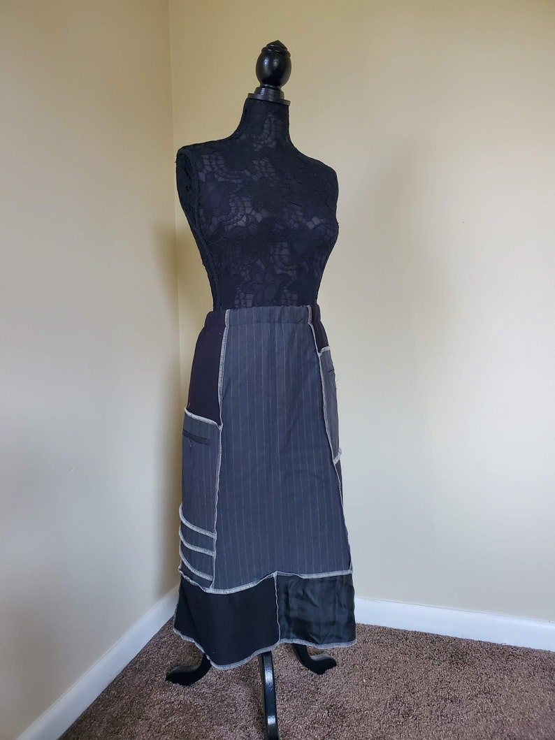 Corporate Goth Haute Couture Skirt black grey Katwise Inspired Patchwork Goth Fashion suit Tripp Inspired Stitching white