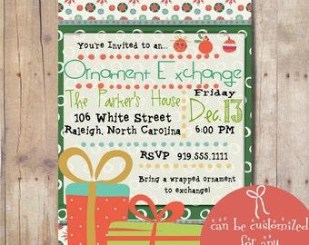 Digital Christmas Ornament Exchange Invitation, Christmas Party Invitation