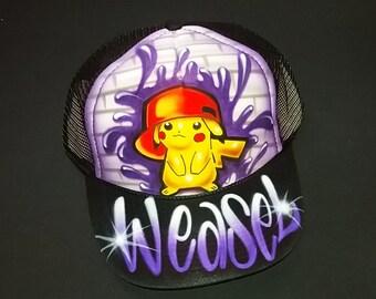 df61b016277 Airbrush Trucker Hat With Hip Hop Pikachu